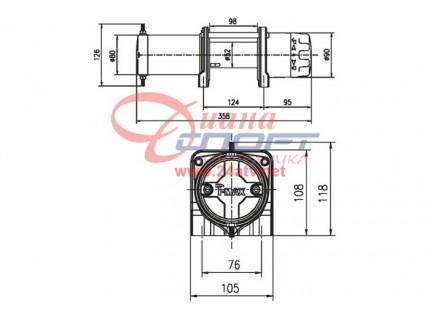 Лебедка электрическая T-max ATW PRO -2500 (1134кг) с синтетическим тросом (4,7мм х 15м)
